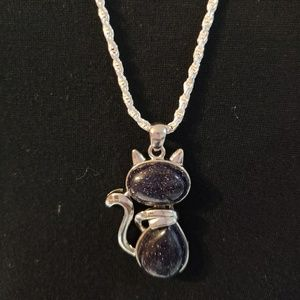 Natural stone pendant+925 silver long chain.